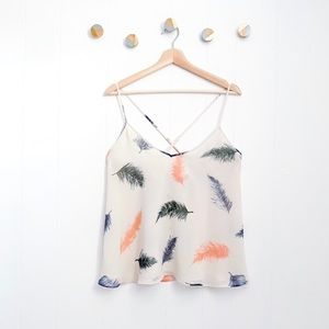 Rory Becca F21 Strappy Feather Boho Tank Top | L